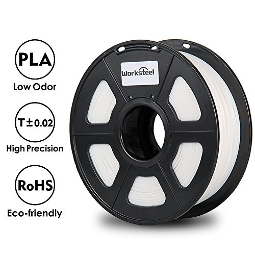 PLA Filament - 1.75 mm 3D Printer Filament White, Dimensional Accuracy +/- 0.02 mm Low Odor 3D Printing Filament, 2.2 lbs Spool 1.75 mm Filament PLA 3D Filament for Most 3D Printer & 3D Pen