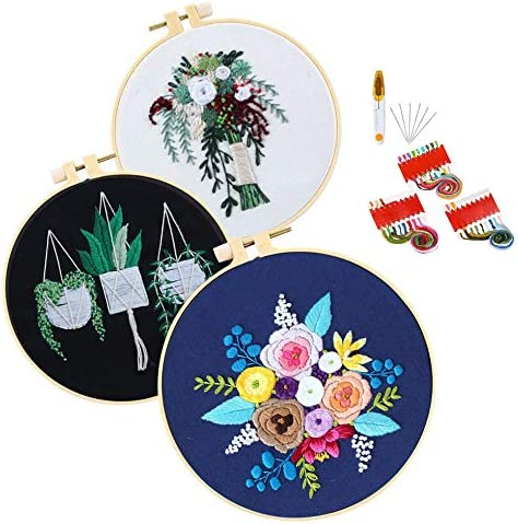 Meowoo DIY Embroidery Starter Kit with Pattern,3 Sets Cross-Stitch Kits for Beginners,Flower Pattern,Including Embroidery Hoop and Color Threads Tools