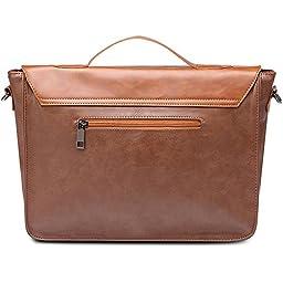 Zebella Vintage Pu Leather Briefcase Shoulder Business Laptop Messenger Bags Tote - Light Brown
