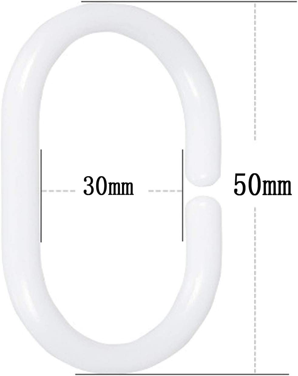 Guang-T Shower Curtain Rings 30-Pack Bathroom Curtain Hook Curtain Poles Shower Rod Hook Hanger White Color Plastic Ring Bath Drape Loop Clasp Drapery Home White