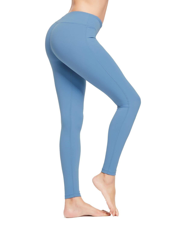 BALEAF Women's Ankle Legging Athletic Yoga Hiking Workout Running Pants Inner Pocket Non See-Through Niagara Size XXL