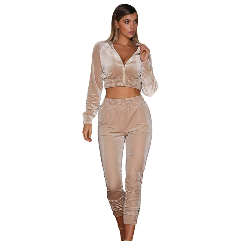 Xinwcanga Damen Kurze Jacke mit Reißverschluss und Slim Fit Freizeithose Jogginganzug Samt Sportanzüge Set