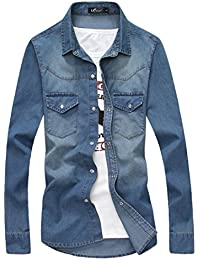 Papijam Mens Vogue Long Sleeve Denim Washed Slim Shirts