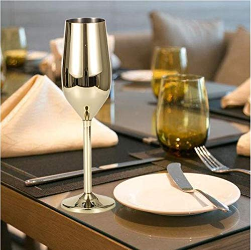 Stainless Steel Champagne Flutes Glass Set of 2, 200ML Unbreakable BPA Free Champagne Wine Glasses for Wedding, Parties and Anniversary 3 Colors (Gold)
