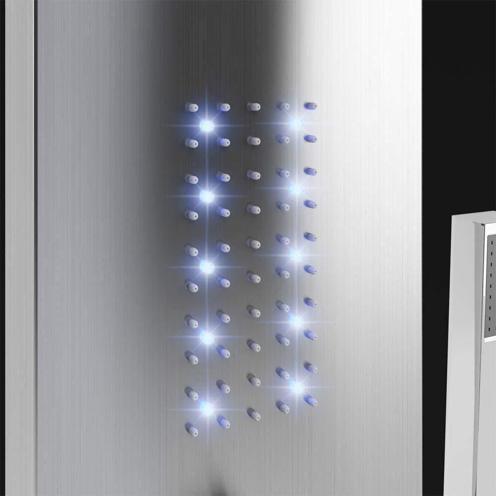NANTIANMEN Ba/ño en el hogar Luz LED Cascada Conjunto de Ducha cepillada Grifos de detecci/ón de Temperatura Grifo de Columna de Masaje con manija Spray-sin luz LED-con luz led