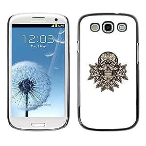 All Phone Most Case / Hard PC Metal piece Shell Slim Cover Protective Case Carcasa Funda Caso de protección para Samsung Galaxy S3 I9300 skull floral minimalist white death rock