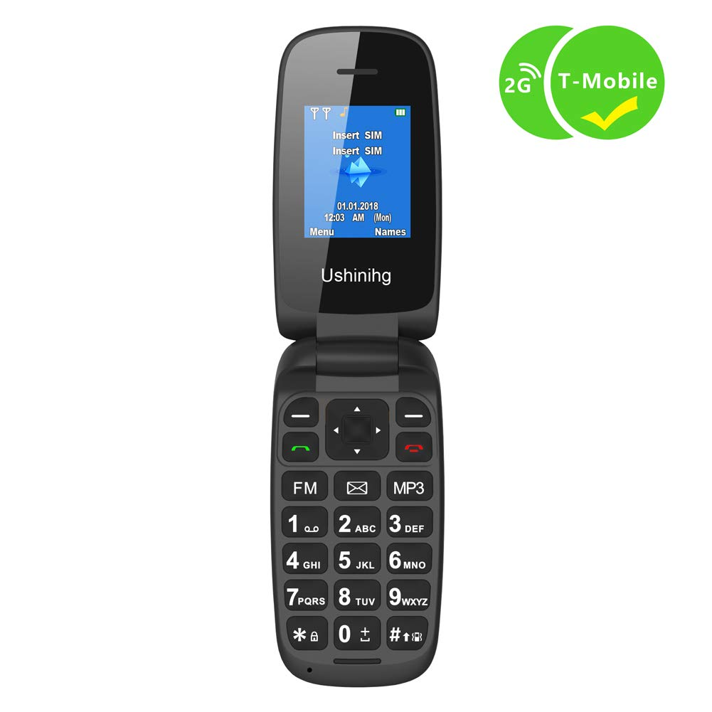 Ushining Unlocked Flip Cell Phone for Seniors,Easy-to-Use,Long Standby time,T-Mobile Card Suitable (Black)