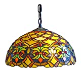 Amora Lighting AM015HL12 Tiffany Style Floral Ceiling Hanging Lamp 14-Inch Wide 2 Light - Multi