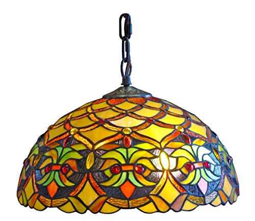 Amora Lighting AM015HL12 Tiffany Style Floral Ceiling Hanging Lamp 14-Inch Wide 2 Light, Multi