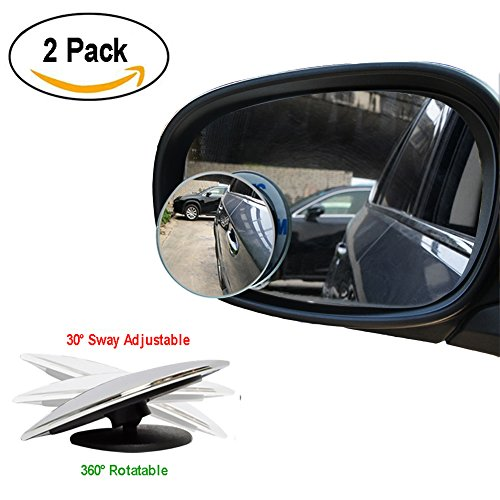 Blind Spot Mirror, HD Glass Convex Rear View Mirror ETopLike 360 Degree Rotation Frameless Wide Angle Mirror for Car SUV Truck Van, 2 Pack