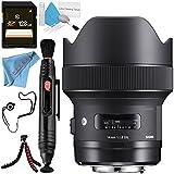 Sigma 14mm f/1.8 DG HSM Art Lens for Nikon F + Lens Pen Cleaner + Lens Capkeeper + Deluxe Cleaning Kit + Fibercloth + Flexible Tripod + 128GB SDXC Card Bundle
