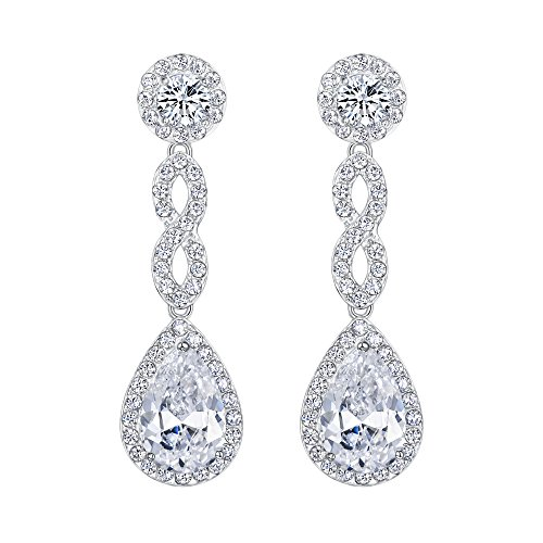 EVER FAITH Women's Cubic Zirconia 8 Shape Infinity Bridal Pierced Dangle Earrings Clear Silver-Tone by EVER FAITH