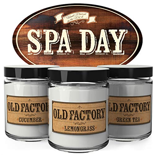 (Old Factory Scented Candles - Spa Day - Set of 3: Cucumber, Lemongrass, and Green Tea - 3 x 4-Ounce Soy Candles - Perfect Valentines Day Gift for Her)