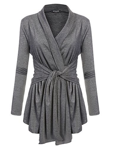 ACEVOG Womens Casual Ultra Stretch Long Sleeve V-Neck Knit Cardigan Sweater Dark Grey L