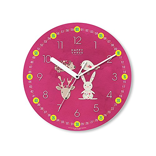 HappyVirus 11.22'' Educational Wall Clock, Children's Time Telling Teacher, Silent Non Ticking Home Decoration (4 Animals) #2111 by HappyVirus