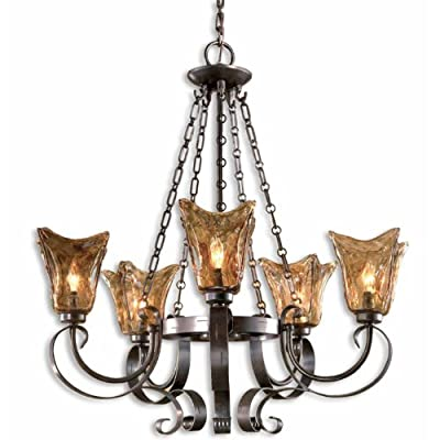 Uttermost Vetraio 5 Light Chandelier in Oil Rubbed Bronze - Heavy hand made glass is held in classic European iron Add them either in your hall or bedroom for a mesmerizing look. This beautiful and charming décor piece will lighten up the atmosphere. - kitchen-dining-room-decor, kitchen-dining-room, chandeliers-lighting - 51Q0MuUz6FL. SS400  -