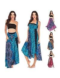 AllaSim 2 in 1 Floral Halter Travel Beach Skirt Bohemian Maxi Dress