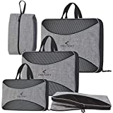 4 Set Compression Packing Cubes + Free Shoe Bag for Travel and luggage organizer