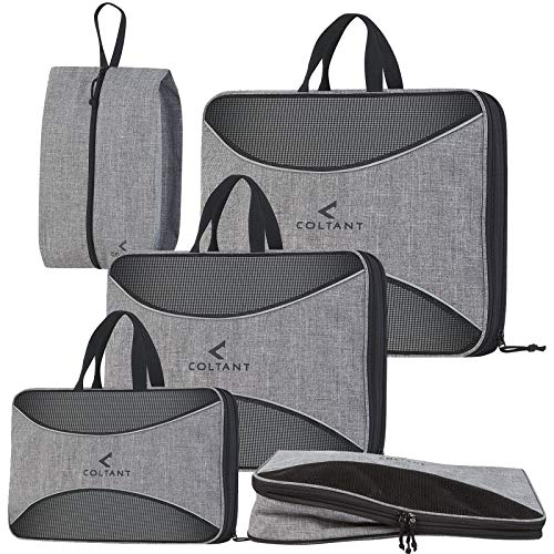 4 Set Compression Packing Cubes + Free Shoe Bag for Travel and luggage organizer by Coltant