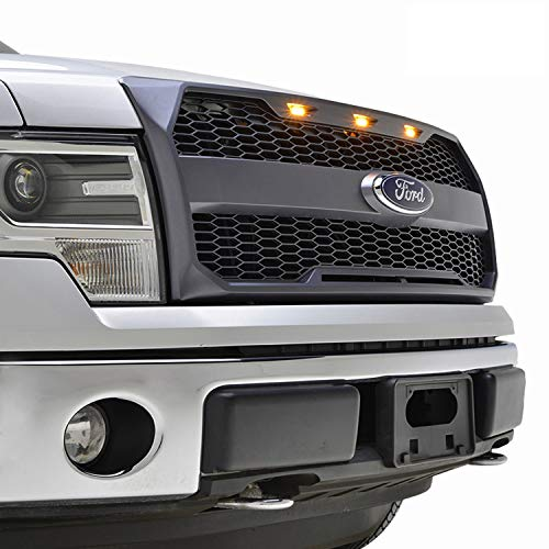(EAG Replacement Upper Grille ABS Mesh Front Grill Fit for 09-14 Ford F-150 - Charcoal Gray - with Amber LED Lights and Ford Emblem Housing )