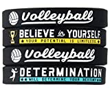 (4-Pack) Volleyball Silicone Bracelets with