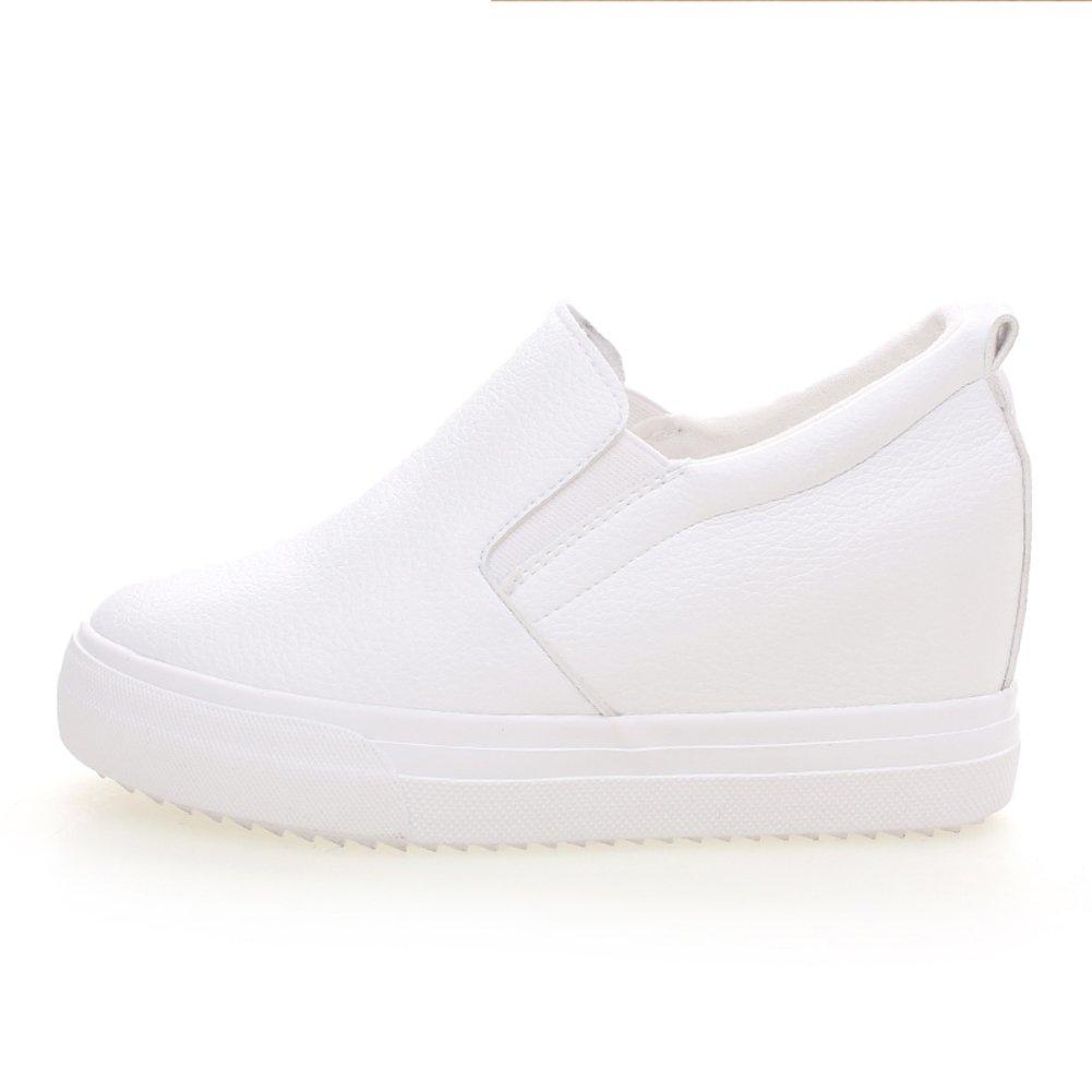 Versión coreana flujos aumento establece pie calzado en primavera/Zapatos de mujer/ zapatos de suela gruesa plataforma/Zapatos de hombre Lok Fu perezosos-D Longitud del pie=22.3CM(8.8Inch) 9lBAndURYh