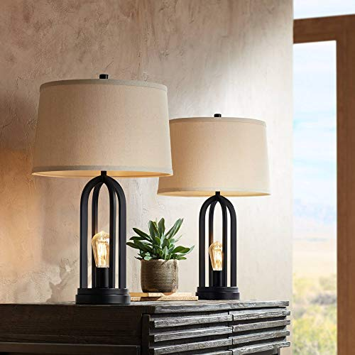 - Marcel Modern Industrial Table Lamps Set of 2 with Nightlight LED USB Port Black Linen Shade for Living Room Bedroom - 360 Lighting