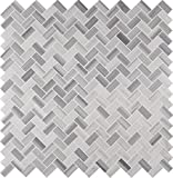 MS International AMZ-MD-00015 Bergamo Herringbone Tile, 12in. x 12in, Gray, 15 Piece