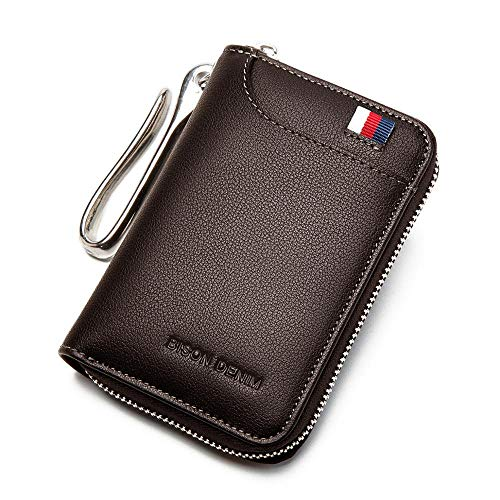 Genuine Leather Key Wallet Male Card Keychain Cover Zipper Card Holder Wallet Key Organizer Large Capacity
