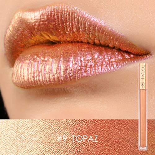Focallure Lipstick Metallic Sparkly Makeup Glitter Lip Gloss Colorstay Liquid Lipgloss Topaz Gold