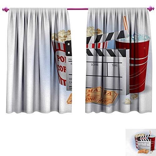 (Anniutwo Movie Theater Customized Curtains Soda Tickets Fresh Popcorn and Clapper Board Blockbuster Premiere Cinema Room Darkening Wide Curtains W72 x L72 Multicolor)