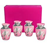 Pink Butterfly Mini Keepsake Urns For Human Ashes - Set of 4 - These Small Urns Are Perfect For Showing Love and Affection - A Simple Beautiful Design And High Quality Finish - Includes Velvet Case