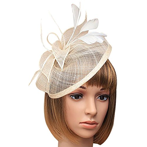 DJHbuy Wedding Tea Cocktail Party Girls Bow Feather Net Sinamay Fascinator Hair Clip Hat by DJHbuy