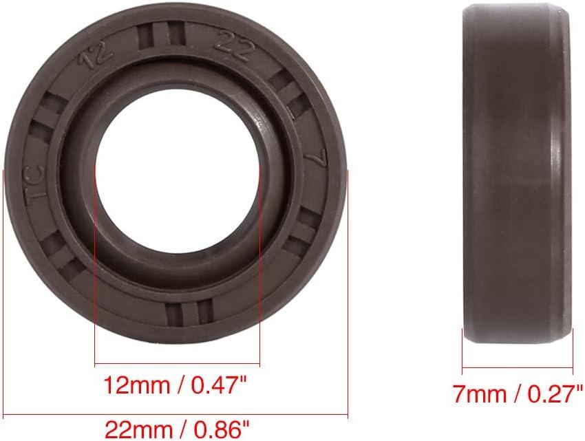 X AUTOHAUX 12mm x 22mm x 7mm Fluor Caoutchouc TC Joint Arbre Huile Marron pour Voiture
