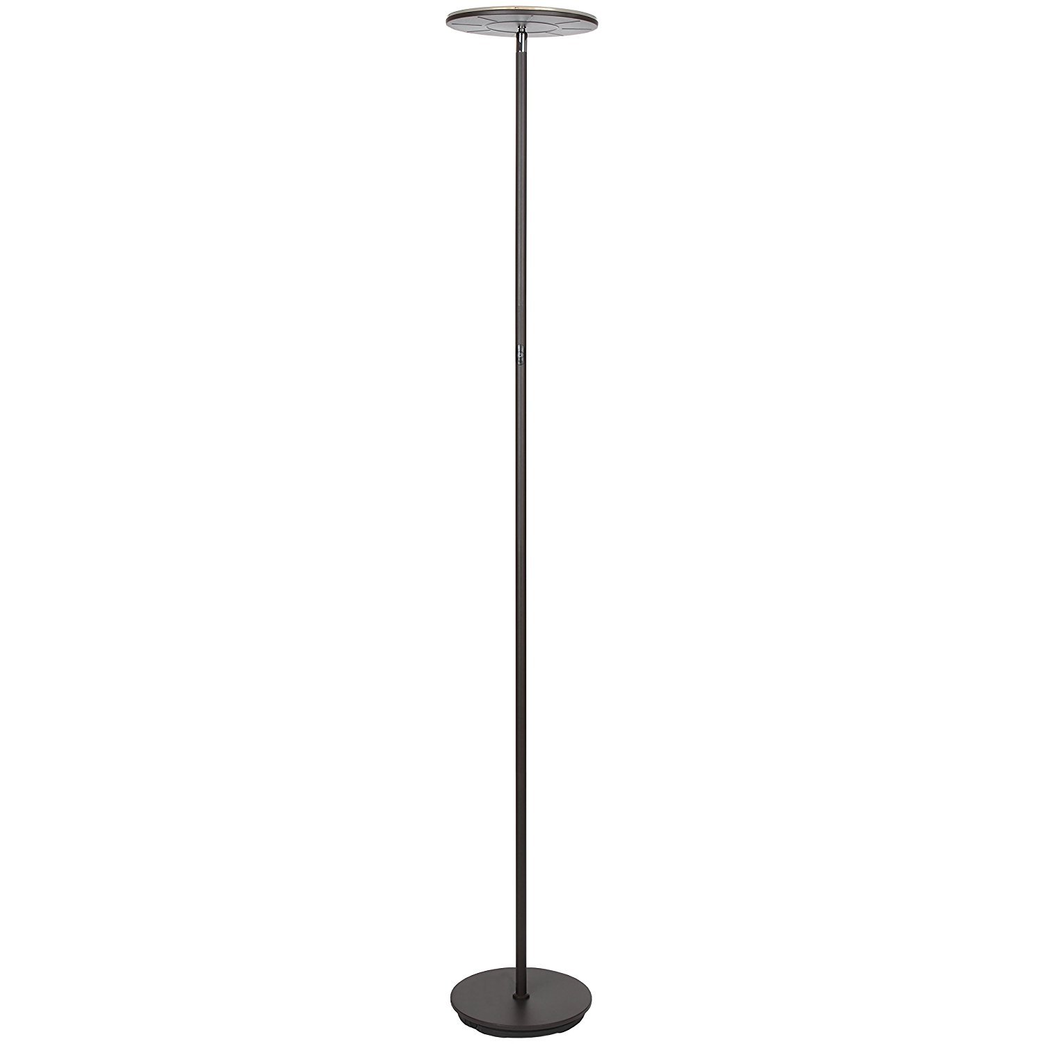 Brightech Sky Flux - Modern LED Torchiere Floor Lamp for Living Rooms & Bedrooms - Adjustable Warm to Cool White - Tall Pole, Standing Office Light - Bright, Minimalist & Contemporary Uplight - Bronze