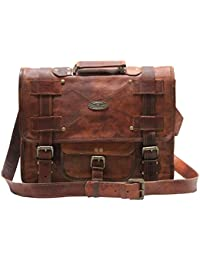 "Leather Messenger Bags For Men Women Mens Briefcase Laptop Bag Best Computer Shoulder Satchel School Distressed Bag (11"" X 15"")"