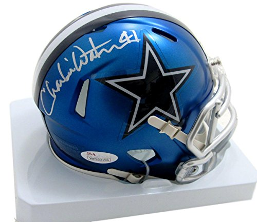 Charlie Waters Dallas Cowboys Autographed/Signed Blaze Mini Helmet JSA 135307