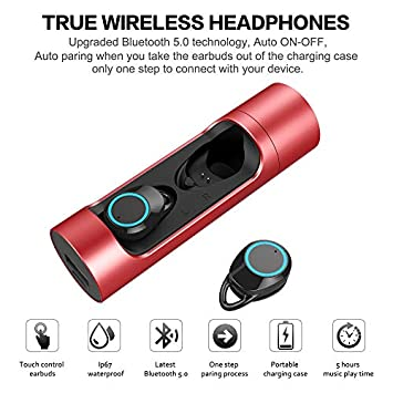 Wireless Bluetooth Earbuds Touch Control Hi-Fi Headphones with Charging Case Dual Microphone Headset, Deep Bass Sound Waterproof Sport Running Exercise Painless Earphones Android iOS Headset