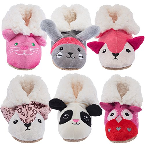 Yelete Kids Plush 3D Animal Slippers Cute Fuzzy Soft Sherpa Boots Toddlers Girls