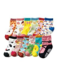 Z-Chen 12 Pack of Baby Girls Cotton Non-skid Socks Anti Slip