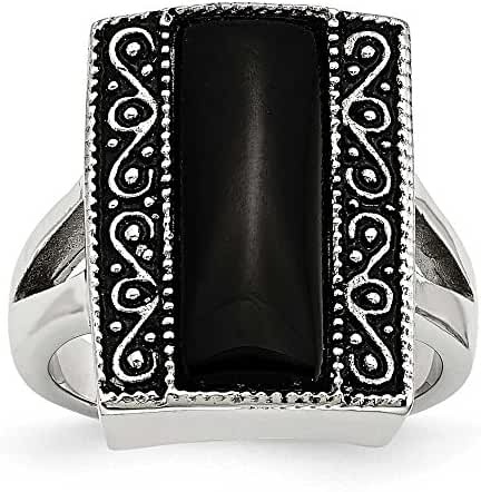 Chisel Stainless Steel Black Onyx Antiqued Rectangular Ring