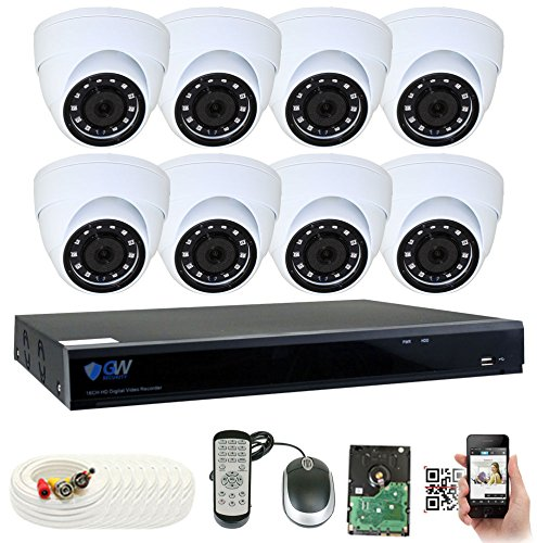 GW Security 8 Channel DVR 2TB HDD CCTV 5MP Video Audio Surveillance Security Camera System – 8 x 5MP HDTVI Weatherproof Microphone Dome Cameras