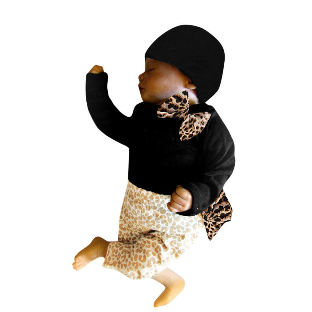 GoodLock Clearance!! Baby Girls Clothes Set Newborn Infant Romper Tops+Leopard Pants Hat Outfits 3Pcs (Black, 6 Months)
