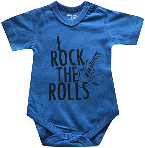 Silly Souls, Inc I Rock The Rolls, Short Sleeve Cotton Bodysuit for Baby Boys, Blue 18-24 Months