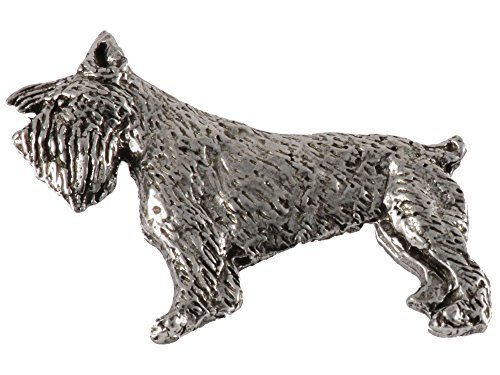 Creative Pewter Designs, Pewter Full Body Schnauzer Handcrafted Dog Lapel Pin Brooch, Antiqued Finish, (Pewter Lapel Dog Pin)