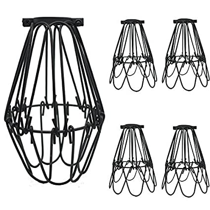 Soofoo 4 pack black metal lamp guard adjustable cage openings to different stylesindustrial
