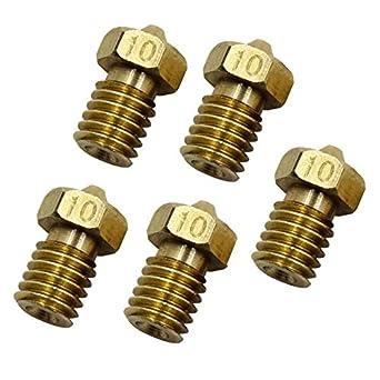 5PCS 1.75mm//0.1mm Copper MK8 Thread Extruder Nozzle For 3D Printer