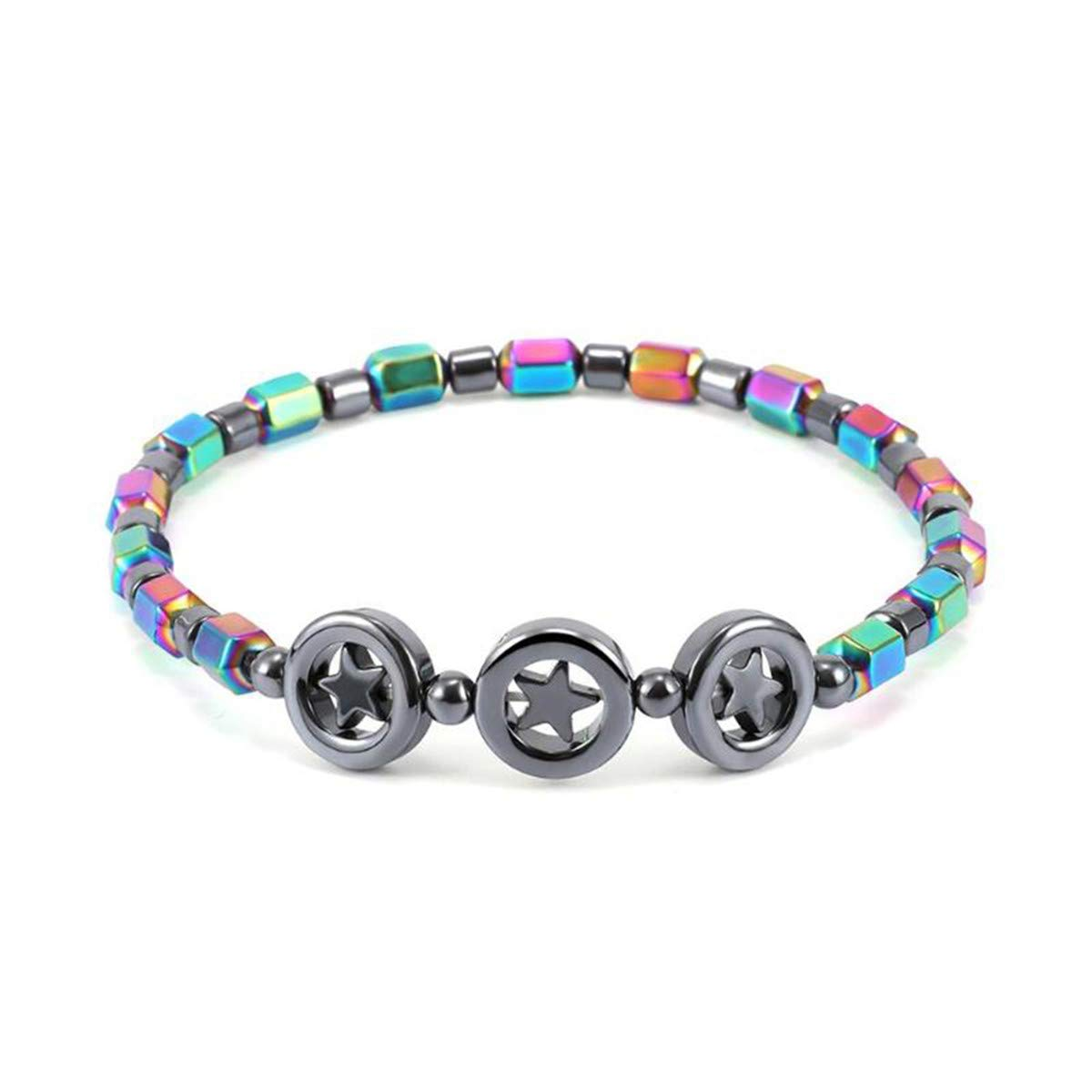 Beiswe Multicolor Stone Beads Anklet Magnet Weight Loss Therapy Hand Foot Slimming Bracelet for Women Men Health Care Jewelry (Style 1)