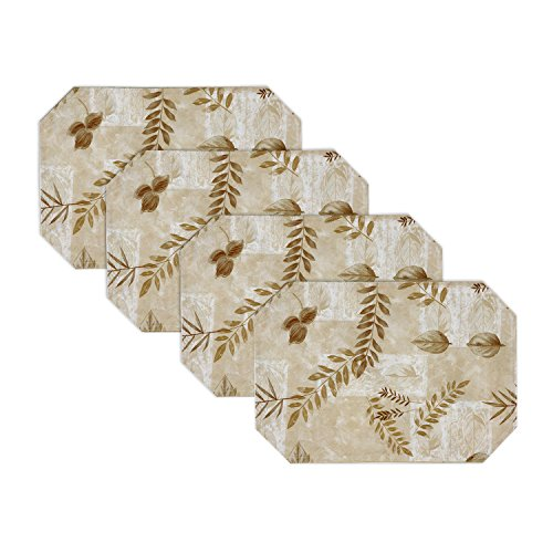 Boxed Fern Vinyl Table Linen Indoor Outdoor, 18-Inch by 11.75-Inch Placemats Set of 4, Taupe