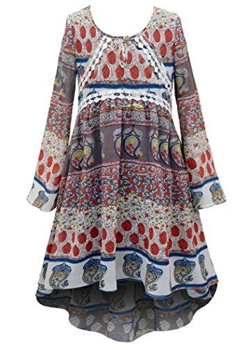 Truly Me, Big Girls Long Sleeve Hi Low Chiffon Dress, 7-16 (10, Brown Multi)
